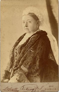Queen Victoria Cabinet Card    A cabinet card of Queen Victoria by Irish photographer James Lafayette. His real name was James Stack Lauder and the Lafayette photographic studio was opened by him in 1880. The business survives to this day making it one of the oldest photographic studios in the World. The Card has been signed by Queen Victoria and is dated Feb. 10th 1887, which was her wedding Anniversary I believe.