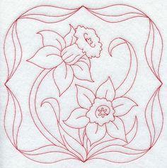 Daffodils (Redwork)