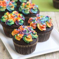 Chocolate Cupcakes with Rainbow Buttercream
