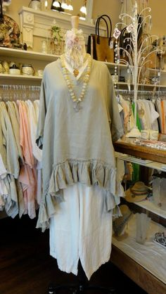 Tina Givens Lullaby Chic Tunic in Taupe    fb.com/mimibellafinelinenwear