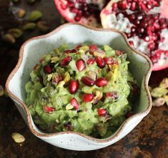Pomegranate-Pistachio Guacamole. This flavorful superfood guac is a guaranteed crowd-pleaser! #SensationalSides #guacamole