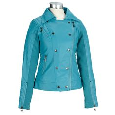 Moto-style says sassy and cool. Be a carefree beauty, on and off the bike, in this fun moto jacket with plenty of bad-girl style. Combo shell made from soft, faux leather with ribbed sweater-knit sleeve inserts that offer great flexibility. Double-breasted front with asymmetric zipper and metallic hardware. This jacket a perfect pick for easy riders.