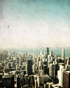 """Chicago Lake Michigan Skyline - Fine Art Photography - 5 x 7 print - Heavily Textured - Vintage Inspired Chicago Skyscrapers - """"Chicago"""". $13.00, via Etsy."""