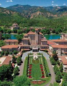 Aerial of Broadmoor Hotel in Colorado Springs.