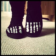 Skeleton toe painted shoes