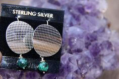 """Sterling Silver Disc w Malachite Earrings by Crow for SistersArtisans, $48.00 PLEASE Click on the """"etsy.com"""" words below to follow the link to this item"""
