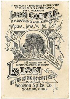ephemera, shoulder bags, lion coffe, vintage pictures, vintage stuff, graphics fairy, clip art, coffee signs, lions