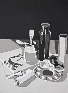still life collage - white, grey, black papers