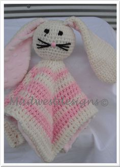 Rabbit Crochet Snuggle Buddy by madwestdesigns on Etsy, $45.00