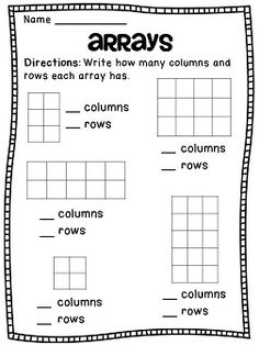 Arrays Arrays Arrays Pack: Identifying how many columns and rows in rectangular arrays