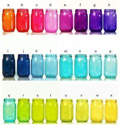 Colorful Wedding Decor, Three Mason Jar Lanterns set of 3... I like colors a, i, q and r- thinking jewel tone wedding colors would be fun -Jess