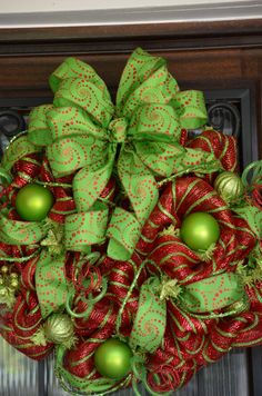 Christmas Deco Mesh Wreath Red and Lime Green