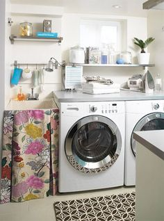 10 Cozy Laundry Room Decorating Ideas   Shelterness. I love the curtain idea. Would be great o hide the cat box