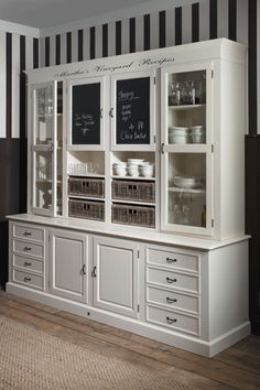 I love this white painted hutch!