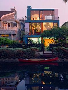 A modern home on the canal in Venice Beach.