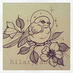 @hilaryjanetattoos- fat bird sparrow flower tattoo ink
