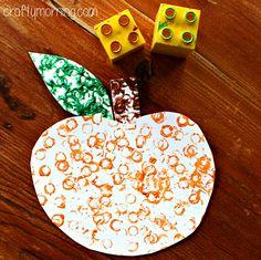Lego stamped pumpkin craft