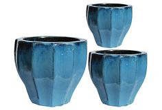 S/3 Textured Planters, Blue