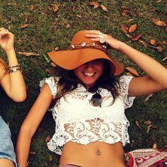 Floppy felt hat.. Cute top too!