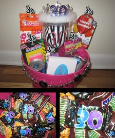 30th Birthday Gift Basket: Fill basket with candy to create a base. Place heavier gifts in the basket and tape lightweight gifts to long candles (found at Party City) The candy in the base will hold the candles up.