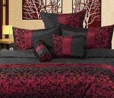 New quot indulgence quot faux silk burgundy wine amp black flocked queen quilt