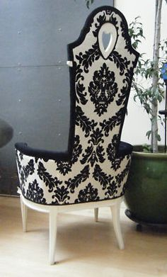 Don't care for the heart cut-out but love the Damask print & style of chair