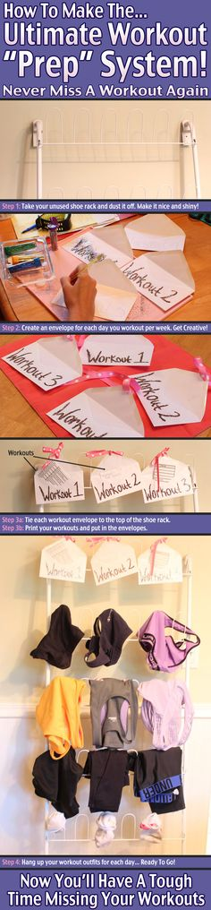 """How to create a workout """"prep"""" board out of your unused shoe rack. Great trick to help with workout motivation and accountability!"""