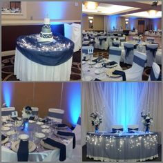 Navy blue and silver wedding décor, would look good with gold also, beautiful