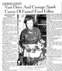 "A newspaper article about pioneering food writer Clementine Paddleford, published in the San Diego Union (San Diego, California), 1 February 1959. Read more on the GenealogyBank blog: ""The First Foodie: Clementine Paddleford."" http://blog.genealogybank.com/the-first-foodie-clementine-paddleford.html"