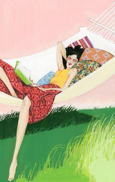 robertwagt:  Woman reading in a hammock Life is a Hammock