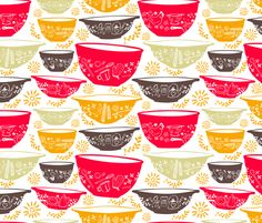 Retro Mixing Bowls fabric by lonih on Spoonflower - custom fabric