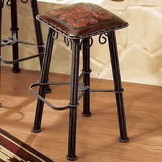Iron Barstool Tooled Leather Seat - Set of 4