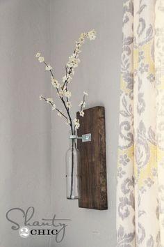 Handmade Wine bottle wall vase...
