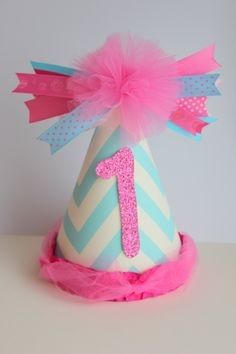 blue and pink party hat