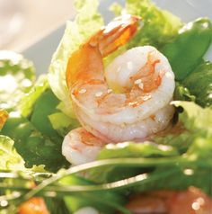 Salads really can't get any easier than this! To make it in one bowl, just whisk the dressing in the serving bowl and toss in the shrimp, romaine, green onions and snow peas.