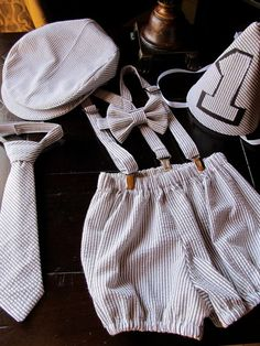 Boys Smash Cake Outfit, Boys Birthday Outfit: Bowtie, Suspenders, Neck Tie, Diaper Cover, Newsboy Hat, Party Hat