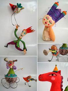 Colorful paper mache figures