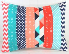 Pillow Cover, Unisex Nursery Decor, Patchwork Pillow Cover, Crib Bedding, 12 x 16 Inches, Navy Blue, Teal, Peach, Coral, Aqua Blue Chevron