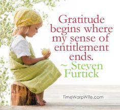 Gratitude begins where my sense of entitlement ends. ~ Steven Furtick