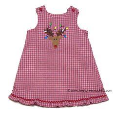 Glorimont Girls REVERSIBLE Red Plaid Christmas Reindeer / Gumball Machine - Jumper Dress