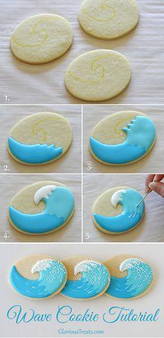 Easy, yet creative Wave Cookies! - via GloriousTreats.com