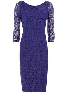 Purple 3/4 sleeve lace dress