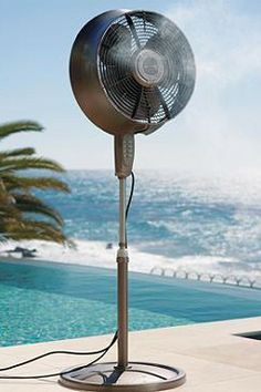 Frontgate's Misting Fan dramatically reduces ambient air temperatures to provide a cooler outdoor environment.