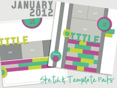 January 2012 Scrapbook Sketch and Template Pack by Amy Kingsford