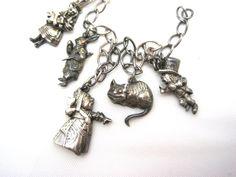 Vintage Alice in Wonderland Bracelet - Alice in Wonderland Jewelry - Sterling Silver Charm Bracelet