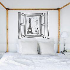 interior design, headboard, window, pari, wall decals, bedroom walls, white bedrooms, wall stickers, sweet home