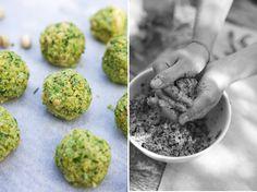 Falafel, pistachio nuts, chickpeas, herbs