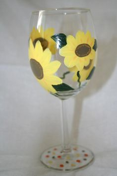 Hand Painted Sunflowers Wineglasses $15 by kpoelmaarts on #zibbet
