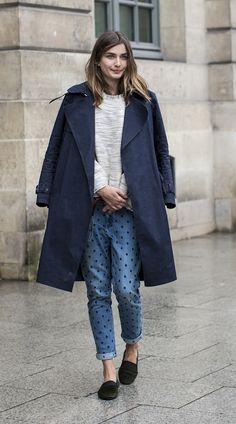 Spotty denim seen at Paris fashion week