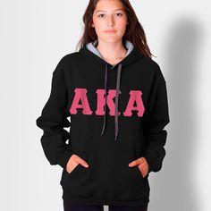 Alpha Kappa Alpha Contrast Hoody with Flock $32.95 #Greek #Sorority #Clothing #AKA #AlphaKappaAlpha